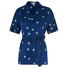Buy Whistles Edwina Floral Wrap Silk Top, Blue Online at johnlewis.com