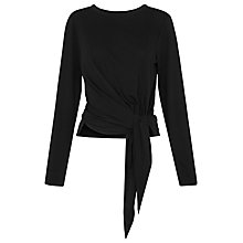 Buy Whistles Tie Detail Long Sleeve T-Shirt, Black Online at johnlewis.com