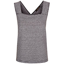 Buy Jaeger Cross Back Cotton Linen Top, Black/Cream Online at johnlewis.com