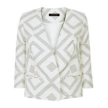 Buy Jaeger Diamond Jacquard Jacket, Ivory/Navy Online at johnlewis.com