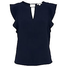 Buy Whistles Imelda Fluted Sleeve Top, Navy Online at johnlewis.com