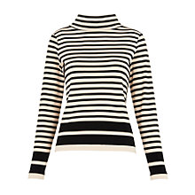 Buy Whistles Funnel Neck Stripe Top, Black/Multi Online at johnlewis.com