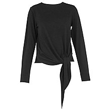 Buy Whistles Tie Front Rib Knit T-Shirt, Dark Grey Online at johnlewis.com