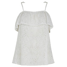 Buy Oasis Lace Cold Shoulder Top, White Online at johnlewis.com