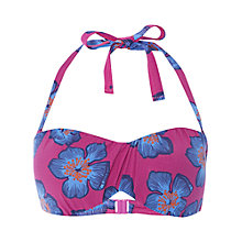 Buy White Stuff Floral Ruche Bikini Top, Dahlia Purple Online at johnlewis.com