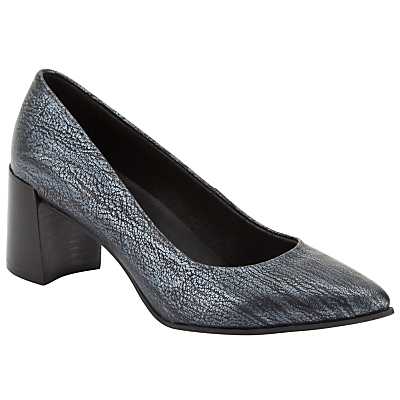 Kin by John Lewis Agneta Pointed Toe Court Shoes, Navy Metallic