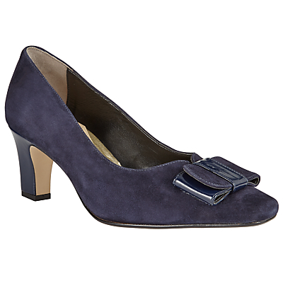 John Lewis Made in England Alston Wide Bow Court Shoes, Navy