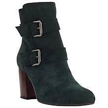 Buy John Lewis Odette Double Strap Block Heel Ankle Boots, Pine Green Suede Online at johnlewis.com