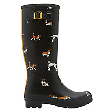 Buy Joules Dog Print Wellington Boots, Black Online at johnlewis.com