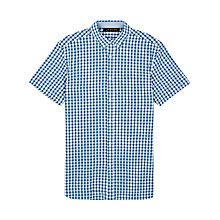 Buy Jaeger Cotton Linen Gingham Short Sleeve Shirt, Cobalt Blue Online at johnlewis.com