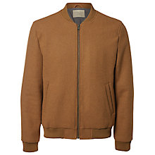 Buy Selected Homme Henley Bomber Jacket, Camel Online at johnlewis.com