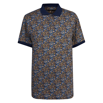 Image of Pretty Green Stretford Paisley Print Polo Shirt, Navy