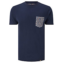 Buy Pretty Green Reilly Print Pocket T-Shirt, Navy Online at johnlewis.com
