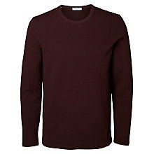 Buy Selected Homme Clarkson Long Sleeve Jersey Top, Fudge Online at johnlewis.com