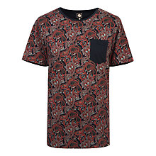 Buy Pretty Green Turner Paisley T-Shirt, Black Online at johnlewis.com