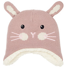 Buy John Lewis Baby Knitted Bunny Character Hat, Pink Online at johnlewis.com
