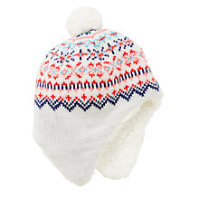 Buy John Lewis Baby Fair Isle Trapper Hat, Off White/Multi Online at johnlewis.com