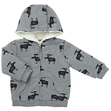 Buy John Lewis Baby Moose Zip Hoodie, Grey Online at johnlewis.com