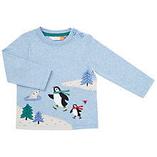 Buy John Lewis Baby Skating Penguins Top, Blue Online at johnlewis.com