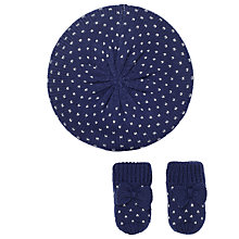 Buy John Lewis Baby Beret and Mittens Set, Navy Online at johnlewis.com