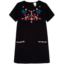 Buy Yumi Girl Floral Embroidered Dress, Black Online at johnlewis.com