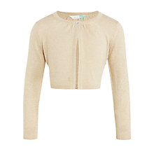 Buy John Lewis Girls' Lurex Shrug Cardigan, Cream Online at johnlewis.com