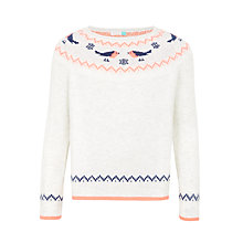 Buy John Lewis Girls' Robin Christmas Jumper, Oatmeal Online at johnlewis.com