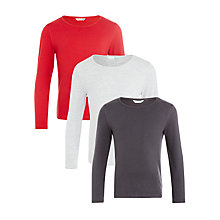 Buy John Lewis Girls' Plain T-Shirt, Pack of 3, Red/Grey Online at johnlewis.com