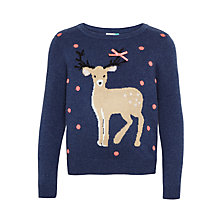 Buy John Lewis Girls' Reindeer Christmas Jumper, Blue Online at johnlewis.com