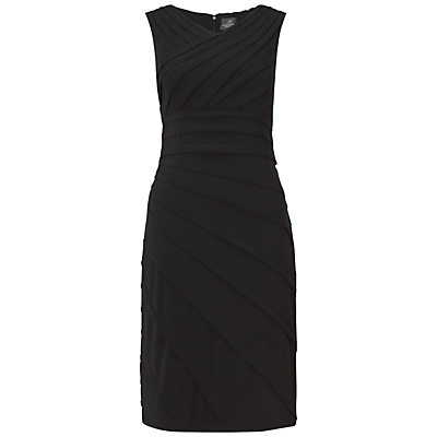 Adrianna Papell Asymmetric Tuck Detail Dress, Black