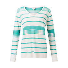 Buy East Stripe V Neck Jumper, Lagoon Online at johnlewis.com