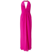 Buy Aidan Mattox Halter Neck Shirred Bodice Silk Chiffon Gown, Fuchsia Online at johnlewis.com