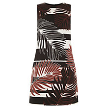 Buy Warehouse Leaf Print Shift Dress, Black Online at johnlewis.com
