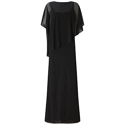 Adrianna Papell Asymmetrical Capelet Tucked Gown, Black