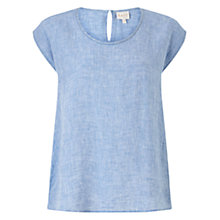 Buy East Linen Dye Shell Top, Blue Online at johnlewis.com