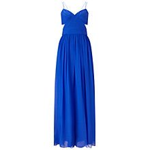Buy Aidan Mattox Spaghetti Strap Shirred Cut Out Silk Chiffon Gown, Cobalt Online at johnlewis.com