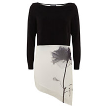 Buy Mint Velvet Anissa Print Layered Jumper, Black/White Online at johnlewis.com