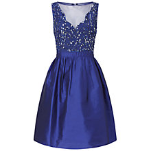 Buy Adrianna Papell Short Beaded Taffeta Party Dress, Neptune Online at johnlewis.com