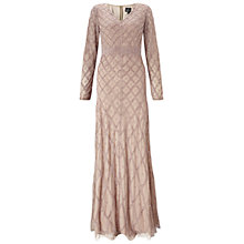 Buy Adrianna Papell Long Sleeve V-Neck Beaded Gown, Taupe/Pink Online at johnlewis.com