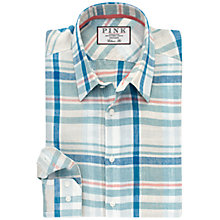 Buy Thomas Pink Axten Check Classic Fit Linen Shirt, Stone/Green Online at johnlewis.com