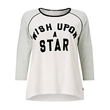 Buy Maison Scotch Colour Block Slogan T-Shirt, White Online at johnlewis.com