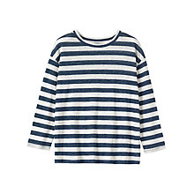 Buy Toast Long Sleeve Stripe Linen T-Shirt, Blue/Off White Online at johnlewis.com