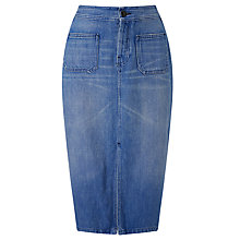 Buy Maison Scotch Straight Denim Skirt, Spiritual Blue Online at johnlewis.com