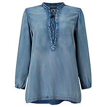 Buy Maison Scotch Chambray Lace-Up Top, Indigo Online at johnlewis.com