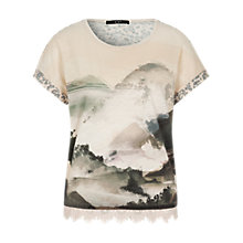 Buy Oui Printed Lace Trim T-Shirt, Shell Online at johnlewis.com