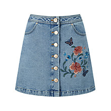 Buy Miss Selfridge Floral Embroidered Skirt, Mid Wash Denim Online at johnlewis.com