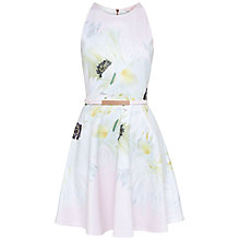 Buy Ted Baker Tuliaa Pearly Petal Skater Dress, Nude Pink Online at johnlewis.com