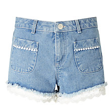 Buy Miss Selfridge Petite Crochet Hem Shorts, Mid Blue Online at johnlewis.com