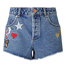Buy Miss Selfridge Badge Shorts, Bleached Denim Online at johnlewis.com
