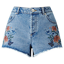 Buy Miss Selfridge Floral Embroidered Shorts, Mid Wash Denim Online at johnlewis.com